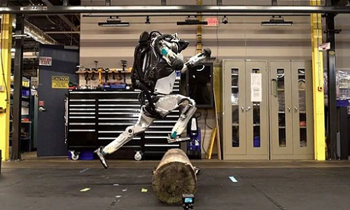 Atlas the robot leaps over an obstacle